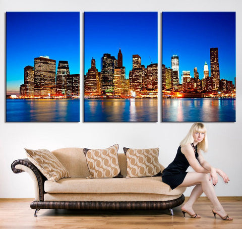 Wall Art - Panorama Manhattan Night Cityscape Canvas Print, Extra Large Manhattan Wall Art Canvas Print, New York City Wall Art Canvas Print - MC212-Wall Art Canvas-Extra Large Wall Art Canvas Print-Extra Large Wall Art Canvas Print