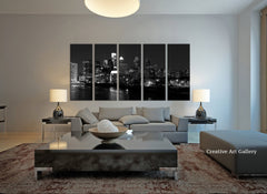 Wall Art - Philadelphia Night City Skyline Canvas Art Print, Extra Large Skyline Philadelphia Wall Art Print, White Black Philadelphia Art - MC55-Wall Art Canvas-Extra Large Wall Art Canvas Print-Extra Large Wall Art Canvas Print