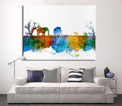 Wall Art Print, Watercolor Wild Elephant Family in African Savannah Canvas Print - Wild Antelope Silhouettes Watercolor-Wall Art Canvas-Extra Large Wall Art Canvas Print-Extra Large Wall Art Canvas Print
