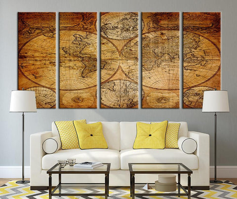 Watercolor Age of Ancient World Map Canvas Art Print, Vintage World Map Art Print No:107-Wall Art Canvas-Extra Large Wall Art Canvas Print-Extra Large Wall Art Canvas Print
