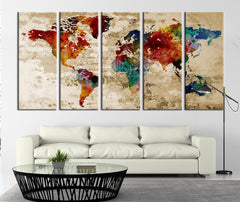 Watercolor Grunge World Map Canvas Art Print, Extra Large Watercolor World Map Print for Home and Office Wall Decor No:002-Wall Art Canvas-Extra Large Wall Art Canvas Print-Extra Large Wall Art Canvas Print