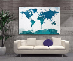 Watercolor Large Wall Art Print World Map - Wall Art Framed Canvas Print - World Map Silhouettes Watercolor Large Canvas Print-Wall Art Canvas-Extra Large Wall Art Canvas Print-Extra Large Wall Art Canvas Print