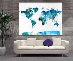Watercolor Splash World Map Canvas Wall Art, Blue World Map Home Decor, No:050-Wall Art Canvas-Extra Large Wall Art Canvas Print-Extra Large Wall Art Canvas Print