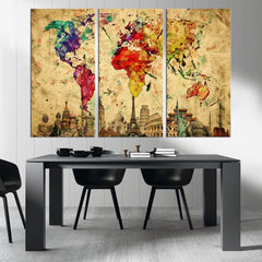 Watercolor World Map Canvas Print, Large World Map Wall Art, XLarge World Map Canvas Print, The 7 Wonders of the World on World Map Wall Art-Wall Art Canvas-Extra Large Wall Art Canvas Print-Extra Large Wall Art Canvas Print