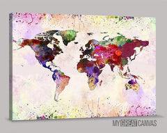 Watercolor World Map Canvas Prints | Wall Art Map Canvas | Splash World Map Canvas Painting-Wall Art Canvas-Extra Large Wall Art Canvas Print-Extra Large Wall Art Canvas Print