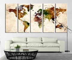 Watercolor World Map on Old Paper Canvas Art Print, World Map Print for Home Decor No:003-Wall Art Canvas-Extra Large Wall Art Canvas Print-Extra Large Wall Art Canvas Print