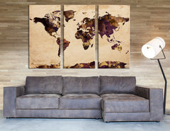 Watercolor World Map on Old Paper Wall Art Canvas Print, Old Paper World Map, No:062-Wall Art Canvas-Extra Large Wall Art Canvas Print-Extra Large Wall Art Canvas Print