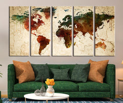 Watercolor World Map on Old Wall Canvas Art Print, Old Wall World Map Print for Home Decor No:036-Wall Art Canvas-Extra Large Wall Art Canvas Print-Extra Large Wall Art Canvas Print
