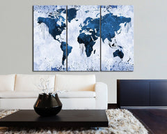 White Backgrounded Blue WORLD MAP Canvas Print - 3 Panel Canvas - Triptych Paint Splash World Map Framed - Colorful Mix World Map - MC110-Wall Art Canvas-Extra Large Wall Art Canvas Print-Extra Large Wall Art Canvas Print