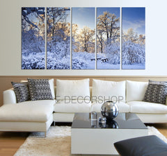 Winter Landscape Canvas Print Snow Canvas Art Prints For Wall - Green Trees Large Art Canvas Printing - Wall Art Canvas-Wall Art Canvas-Extra Large Wall Art Canvas Print-Extra Large Wall Art Canvas Print