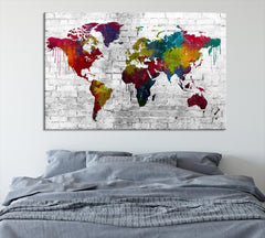 WORLD MAP on Stone Wall Canvas Print - Beautiful 5 Panel Canvas Art Print - Full Colorful World Map Drawing - Streched Canvas-Giclee Canvas Print-World Map Wall Art-Extra Large Wall Art Canvas Print
