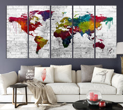 WORLD MAP on Stone Wall Canvas Print - Beautiful 5 Panel Canvas Art Print - Full Colorful World Map Drawing - Streched Canvas-Giclee Canvas Print-World Map Wall Art-5 Panel-Per P. 12x32-Extra Large Wall Art Canvas Print