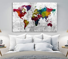 WORLD MAP on Stone Wall Canvas Print - Beautiful 5 Panel Canvas Art Print - Full Colorful World Map Drawing - Streched Canvas-Giclee Canvas Print-World Map Wall Art-Single Panel-24x16-Extra Large Wall Art Canvas Print