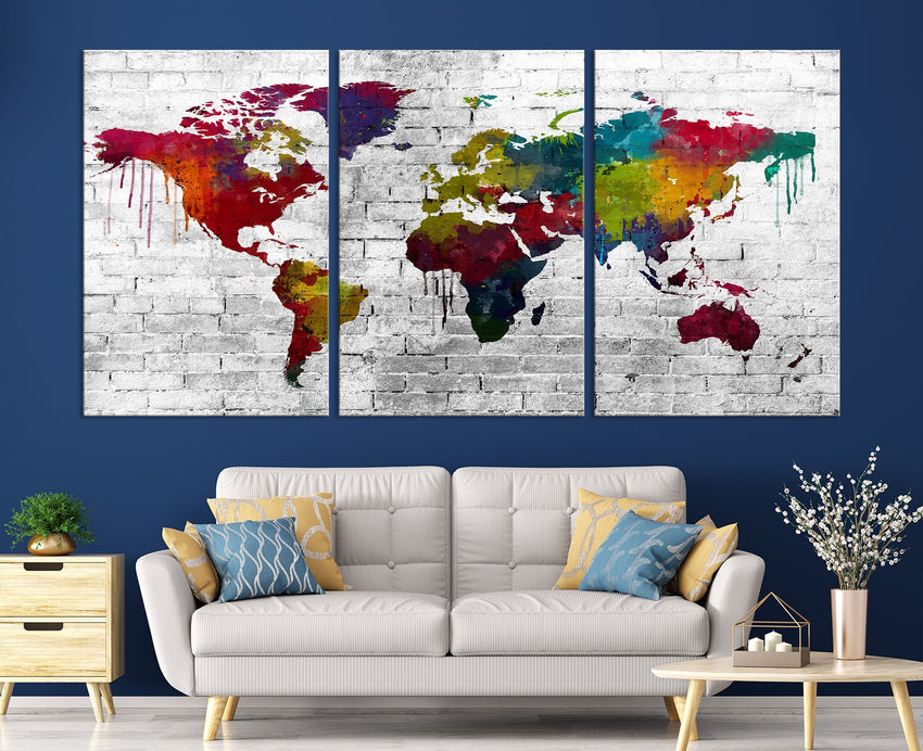 WORLD MAP on Stone Wall Canvas Print - Beautiful 5 Panel Canvas Art Print - Full Colorful World Map Drawing - Streched Canvas-Giclee Canvas Print-World Map Wall Art-3 Panel-Per P. 16x24-Extra Large Wall Art Canvas Print