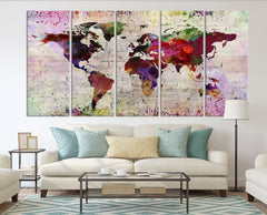 WORLD MAP on Stone Wall Canvas Print - Watercolor World Map 5 Panel Canvas Art Print - Ready to Hang - Colorful World Map - Streched Canvas-Giclee Canvas Print-World Map Wall Art-Extra Large Wall Art Canvas Print