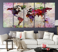 WORLD MAP on Stone Wall Canvas Print - Watercolor World Map 5 Panel Canvas Art Print - Ready to Hang - Colorful World Map - Streched Canvas-Giclee Canvas Print-World Map Wall Art-5 Panel-Per P. 12x32-Extra Large Wall Art Canvas Print