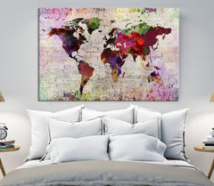WORLD MAP on Stone Wall Canvas Print - Watercolor World Map 5 Panel Canvas Art Print - Ready to Hang - Colorful World Map - Streched Canvas-Giclee Canvas Print-World Map Wall Art-Single Panel-24x16-Extra Large Wall Art Canvas Print