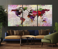 WORLD MAP on Stone Wall Canvas Print - Watercolor World Map 5 Panel Canvas Art Print - Ready to Hang - Colorful World Map - Streched Canvas-Giclee Canvas Print-World Map Wall Art-3 Panel-Per P. 16x24-Extra Large Wall Art Canvas Print
