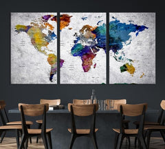 World Map Wall Art, World Map Canvas, World Map Print, World Map Poster, World Map Art, World Map Push Pin, Large Wall Art World Map Canvas.jpg