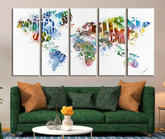 World Map with Country Names Canvas Art Print, Large Wall Art World Map with Country Names Canvas Art Print No:020-Wall Art Canvas-Extra Large Wall Art Canvas Print-Extra Large Wall Art Canvas Print