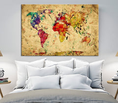 Yellow Retro Watercolor World Map Canvas Print, Vintage 3 Panel Map Art Print, Great Design for Home and Office Decor, Streching Art Print - SM101-Giclee Canvas Print-World Map Wall Art-Single Panel-24X16-Extra Large Wall Art Canvas Print