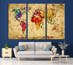 Yellow Retro Watercolor World Map Canvas Print, Vintage 3 Panel Map Art Print, Great Design for Home and Office Decor, Streching Art Print - SM101-Giclee Canvas Print-World Map Wall Art-Extra Large Wall Art Canvas Print