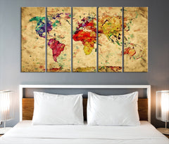 Yellow Retro Watercolor World Map Canvas Print, Vintage 3 Panel Map Art Print, Great Design for Home and Office Decor, Streching Art Print - SM101-Giclee Canvas Print-World Map Wall Art-5 Panel-Per Panel 12X32-Extra Large Wall Art Canvas Print