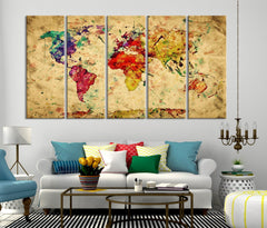 Yellow Retro Watercolor World Map Canvas Print, Vintage 3 Panel Map Art Print, Great Design for Home and Office Decor, Streching Art Print - SM101-Giclee Canvas Print-World Map Wall Art-5 Panel-Per Panel 16X40-Extra Large Wall Art Canvas Print