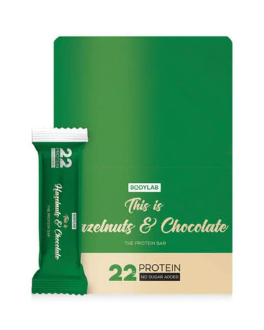Bodylab Protein Bar Hazelnuts & Chocolate 12x65g - FitStyle.no