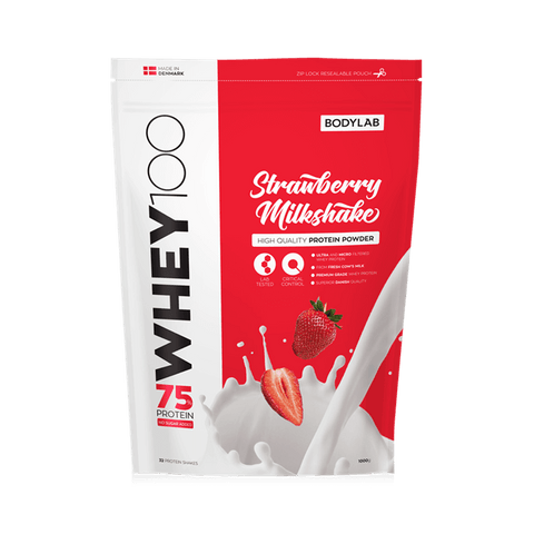 Bodylab Whey 100 Strawberry Milkshake 1kg - FitStyle.no