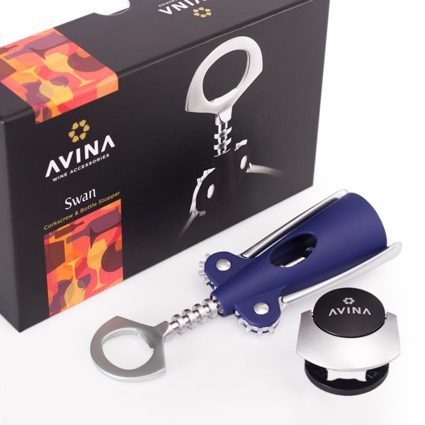 Swan - Easy Grip Wing Corkscrew Wine & Bottle Opener - Blue - Avina Wine Tools