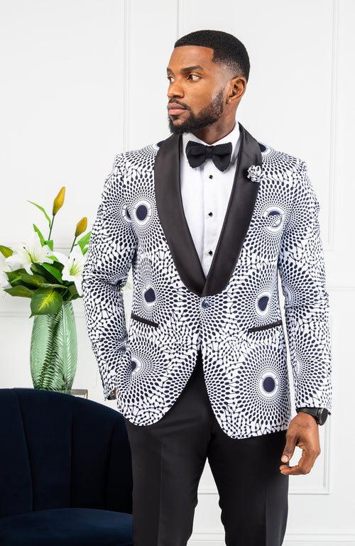 African Print Mens Dashiki Blazer - Modern Fit Shawl Collar Men's African Print Tuxedo for Guy - ALEXANDER