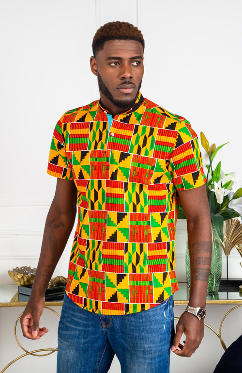 African Shirts for Men | Kente shirt for men - Grandad Collar Short Sleeve Polo  Shirt - KENDRICK