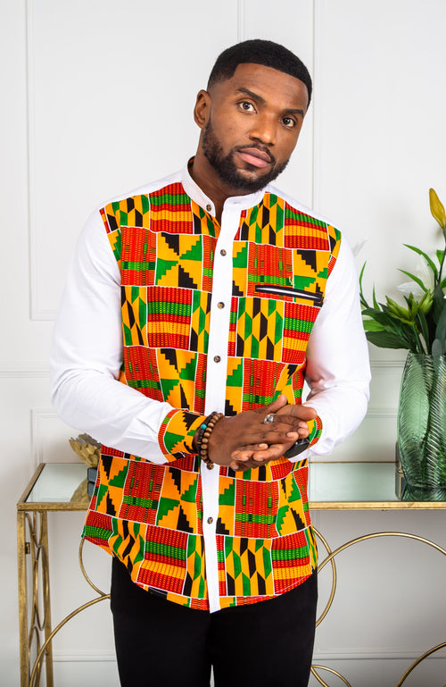 African Attire for Men | Kente Shirt for Men - Grandad Collar Patch Shirt - KENDRICK