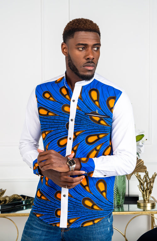 Mens African Clothing| Dashiki Shirt for Men - Grandad Collar Patch Shirt - Elijah
