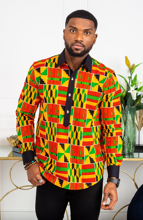 African Mens Shirts | Mens Ankara Shirt - Mens Long-sleeve Polo - KENDRICK