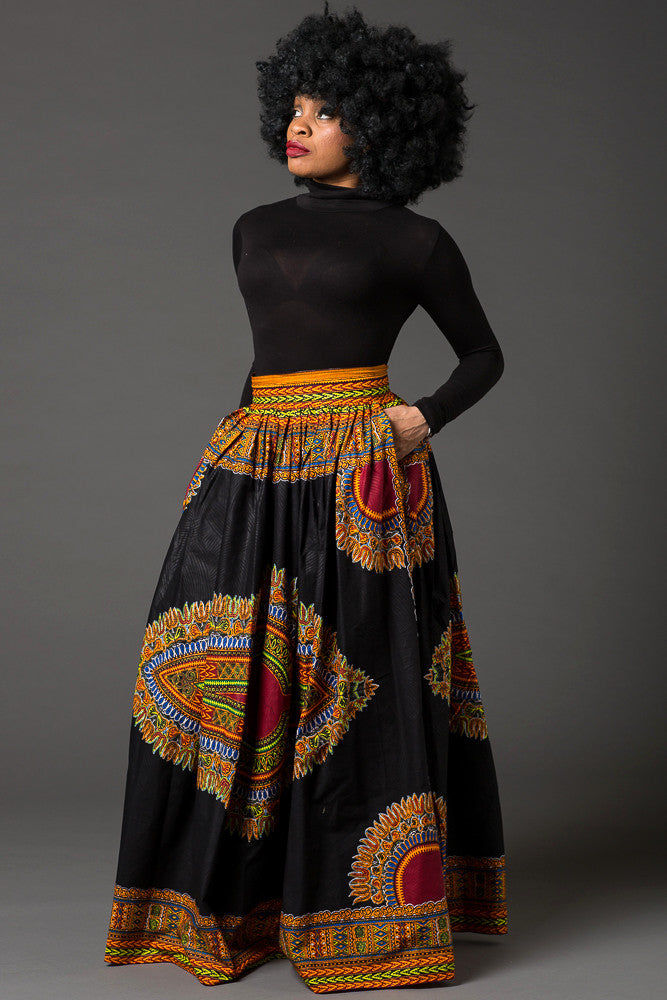 (Pre-Order, Ships in 3-4 Weeks) Black African dashiki maxi skirt with pockets MARCIA