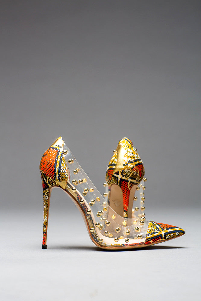 African Print Clear Panel PVC Ankara Stiletto Pumps - Mya