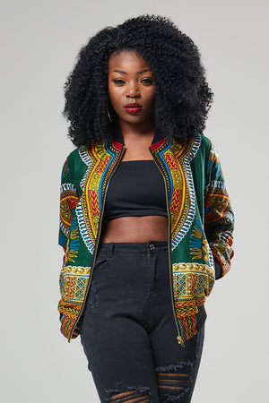 (Pre-Order, Ships in 3-4 Weeks) African Print Green Dashiki bomber jacket - Liana