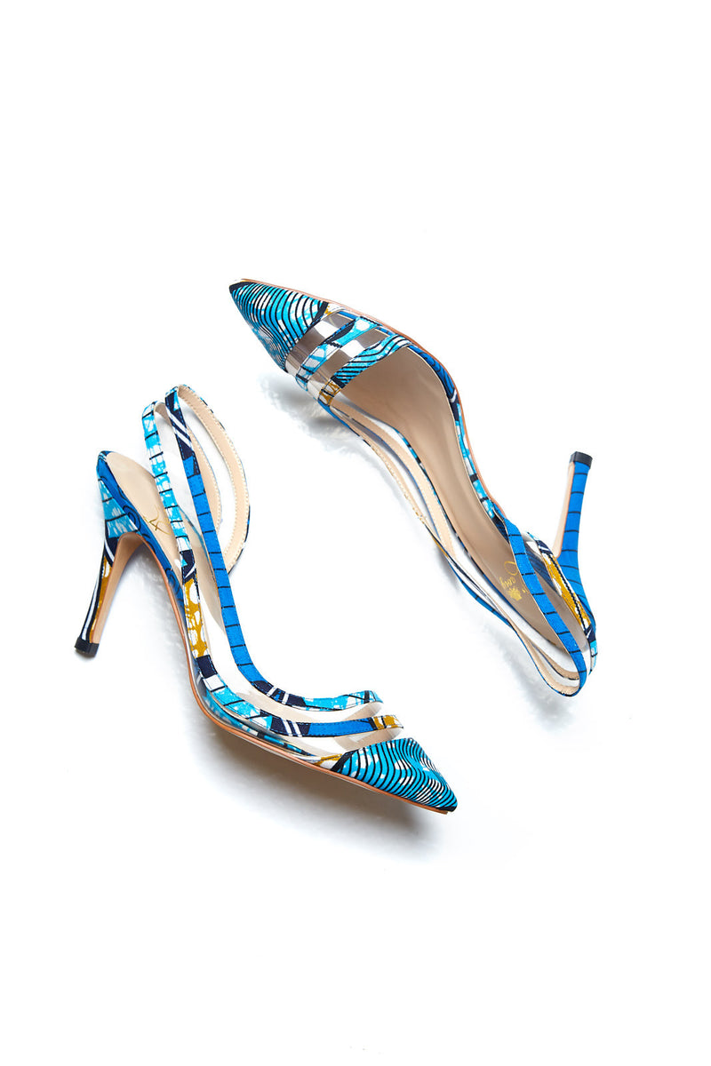 (Pre-Order, Ships in 3-4 Weeks) African Print Blue Kitten Heel Shoes with Side PVC detail - Nina