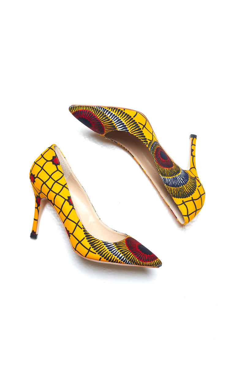 (Pre-Order, Ships in 3-4 Weeks) African Print Yellow Stiletto Pumps - Leona