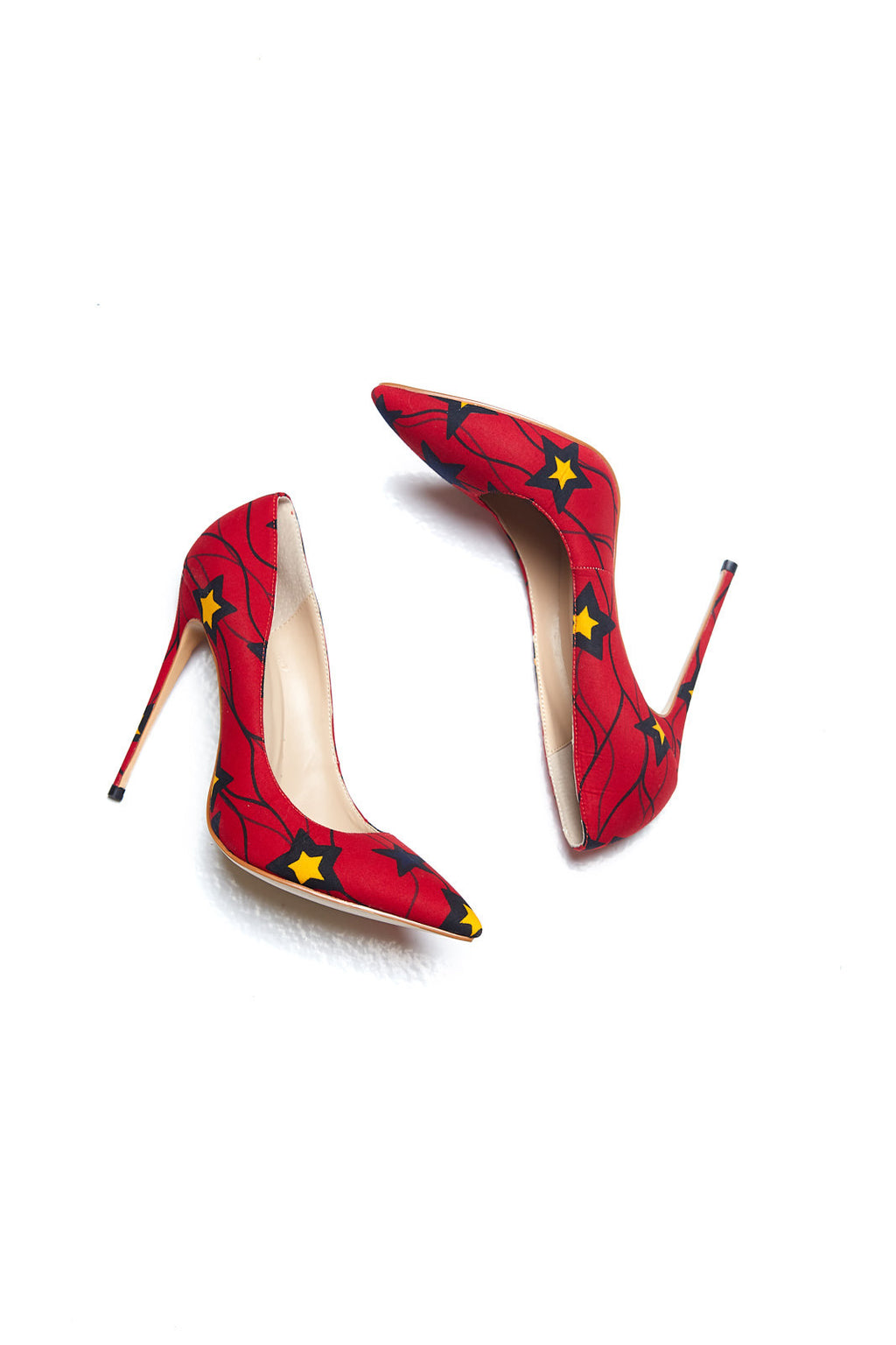 African Print Red Star Stiletto Heel Pumps - Camilla