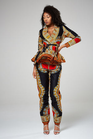 African Print Multicolored High Waist Trousers - Mariella