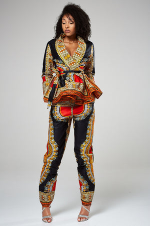 African Print Black Dashiki Long Sleeved Peplum Wrap Top - Mariella