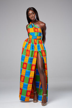 African Print Kente Multiway Infinity Maxi Dress - Soraya