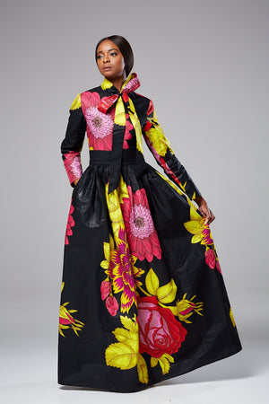 African Print Black Floral Pussy-bow Maxi dress - STELLA