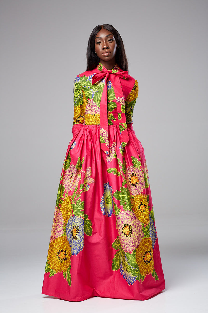 African Print Pink Floral Pussy-bow Maxi dress - DIANA