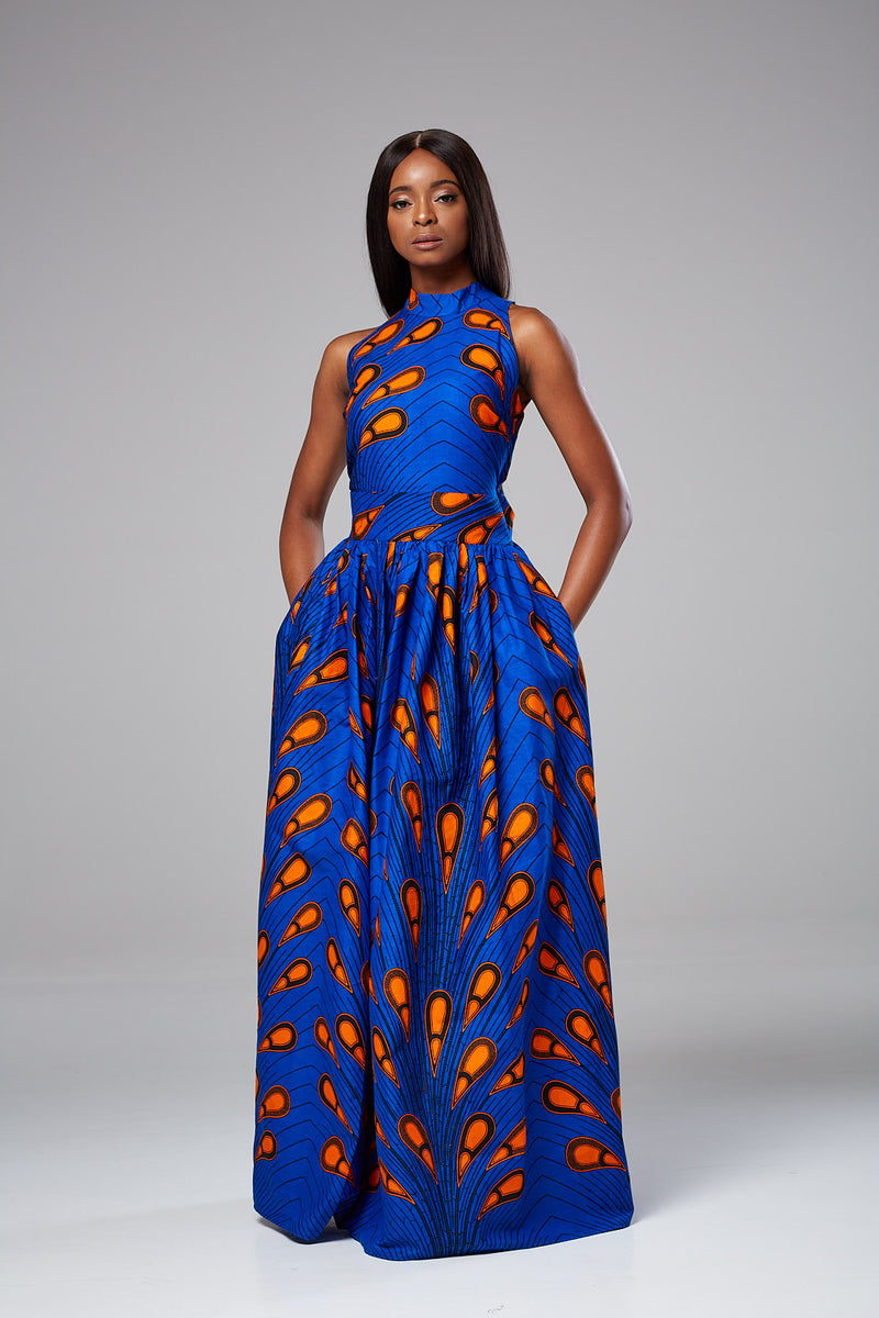 (Pre-Order, Ships in 3-4 Weeks) African Wax Print Sleeveless Turtleneck  Maxi Dress - Ella
