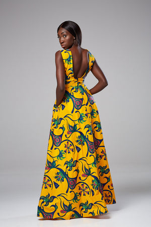 (Pre-Order, Ships in 3-4 Weeks) African Print Front CutOut Sleeveless Maxi Dress - Gloria