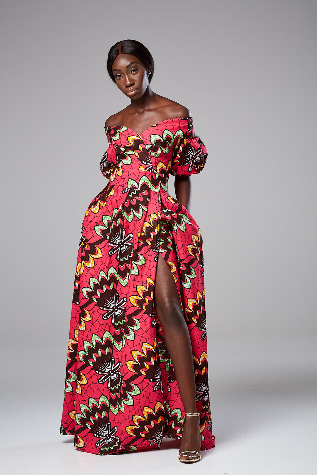 KIRA African Print Off Shoulder Maxi Dress with Slit